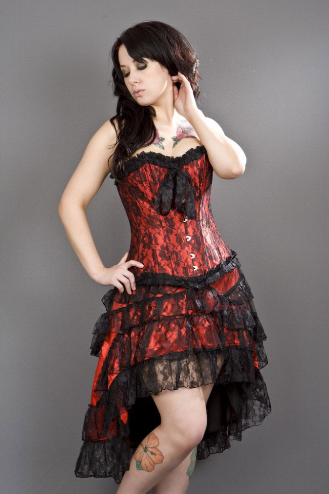 Gothica Red Satin And Lace Skirt