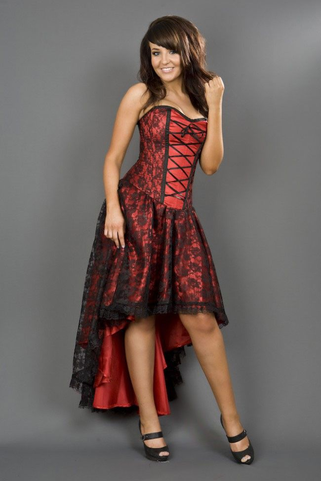 Mollflanders Red Satin And Black Lace Burlesque Dress