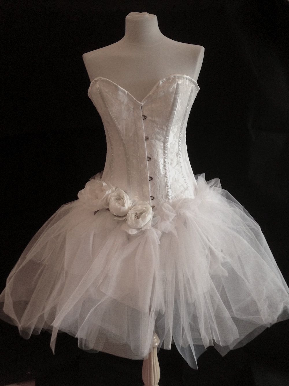 White burlesque corset dress white burlesque costume for White corset wedding dress