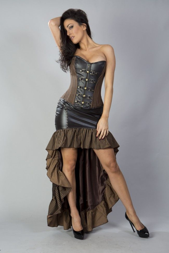 high low leather steampunk skirt, frilled steampunk skirt, leather ...