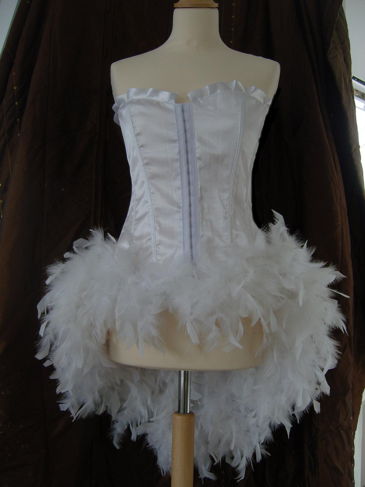 White Satin Corset With Feather Bustle Bianca