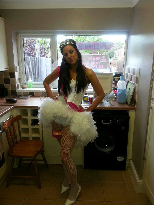 White Burlesque Corest Dress For Hen Party