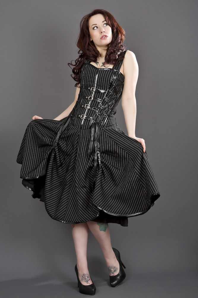 Dominatrix Punk Rock Pinstripe Corset Dress