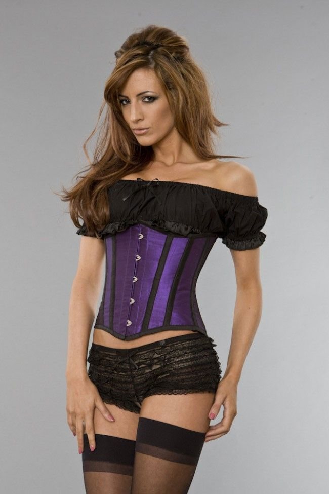 564b5bffd4 Email this to a friend · Purple Taffeta Black Piping Underbust Corset . «