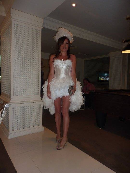 Hen Party Bride White Feather Showgirl Headpiece